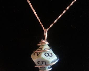 Wire Wrapped 10 sided dice pendant