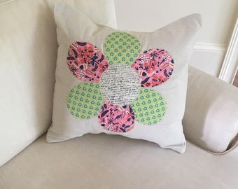 18x18 flower appliqué pillow