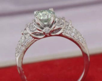 1 Ct green moissanite ladies ring GRAND OPENING SALE