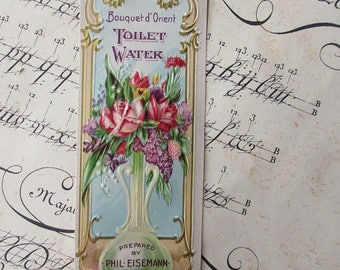 Vintage Paper Label Toilet Water Gilded Embossed Cosmetics Roses Circa 1910 #B