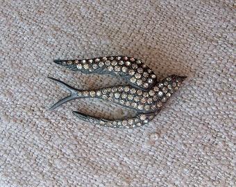 Vintage Antique Fishel Nessler Pave Paste Bird Brooch