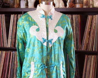 vintage Chinese jacket with dragons, midlength silk brocade robe turquoise & chartreuse, mandarin collar, frog closures . womens size small