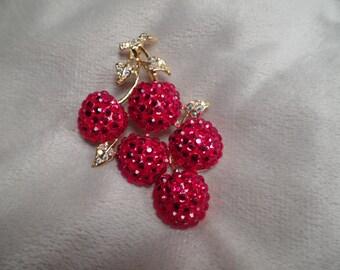 Fabulous Cherries Brooch Signed Suzanne Bjontegard