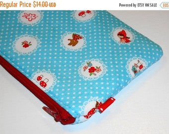 SALE SALE SALE - 20% Off Padded Zippy Pouch / Pencil Case / Cosmetic Bag / Clutch-- Little Red Riding Hood -- Blue (Other Colors Available)