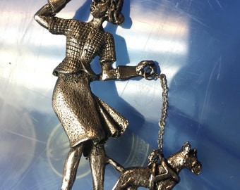 Antiqued Silvertone ART DECO Pin, Vintage 1940's Lady with Dog on Chain Brooch