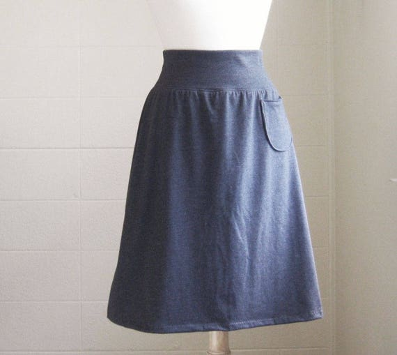 Grey Aline Skirt women's Cotton skirt jersey Knit yoga waistband Pull on style knee length Skirt with a Pocket gift for mom - Made to Order