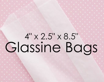 "Glassine Bags with Gusset 4"" x 2.5"" x 8.5"" 