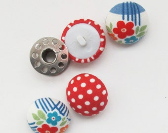22mm Floral and Polka Dot Buttons | Four 7/8 inch half round fabric buttons with a self shank back.
