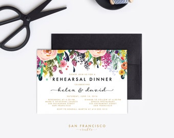 Rehearsal Dinner Invitation | Engagement Party Invite, 40th Birthday, Surprise |  Printable Invitation | Floral | Ashley Collection - PDF
