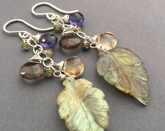 Planet Earth, Labradorite, Iolite, Smoky Quartz, Champagne Citrine, Peridot, Sterling Silver Gemstone Earrings, erinelizabeth