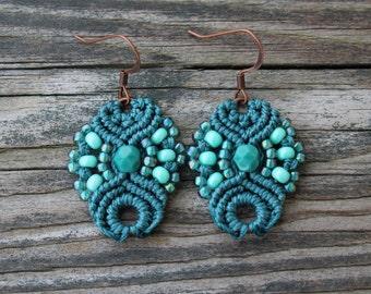 Micro-Macrame Earrings - Turquoise