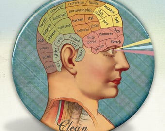 Clean Mind Phrenology Style Pocket Mirror tartx