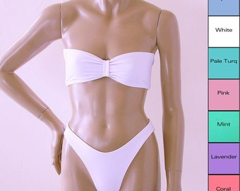 80s High Leg Bikini Bottom and Bandeau Top in White, Coral, Pink, Mint, Turquoise, Baby Blue, Lavender