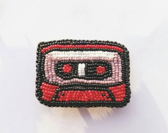 Mini Cassette Tape Brooch, Pin, Bead Embroidered
