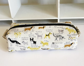 Long box pouch -Natural dog in yellow