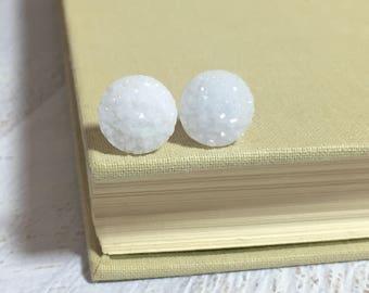 White Druzy Studs, Druzy Stud Earrings, White Stud Earrings, Snowball Stud Earring, Glitter Stud Earrings, Winter White Earrings (SE11)