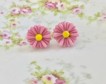 Lavender Flower Stud Earrings, Surgical Steel Studs,  Lavender Gerbera Daisy Studs, Flower Girl Studs, Wedding Earring, KreatedByKelly (SE8)