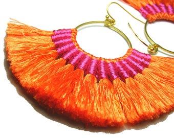 Hot color earrings, Orange tassel earrings, Hot pink earrings, Fan hoop tassel earrings, Tassel jewellery, Boho Earrings, Hot summer jewelry