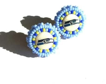 Seahawks Beaded Post Earrings