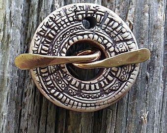 Toggle  Clasp Round   Stoneware Ceramic Clay Handmade by Mary Harding