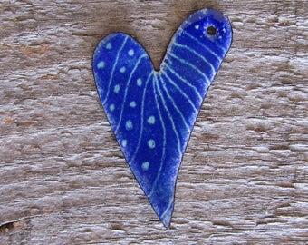 Beautiful Blue Enamel Heart
