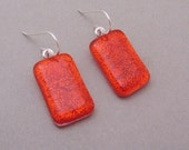 Long translucent bright orange dichroic glass earrings  dichroic dangle sterling silver ear wires fused glass jewelry
