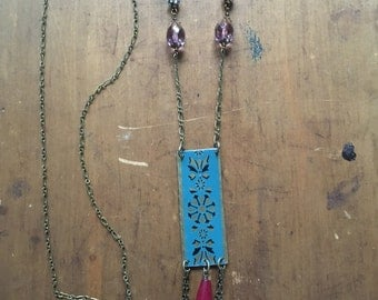 Teal and pink vintage tin necklace