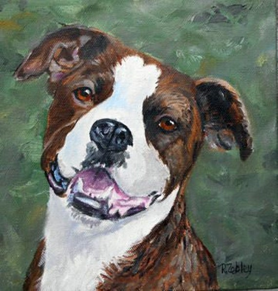 Brindle Pitbull Portrait Oil Painting by Robin Zebley