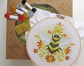 Queen Bee DIY Hand Embroidery Kit Hoop art embroidery pattern designs