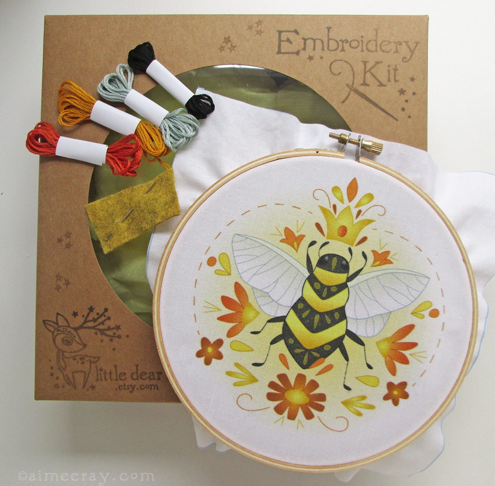 Queen bee diy hand embroidery kit sampler in the hoop art