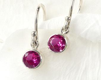 July Birthstone Earrings | Ruby | Sterling Silver | Handmade in the UK