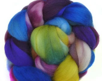 SUPERWASH MERINO roving top handdyed wool spinning fiber 3.8 oz