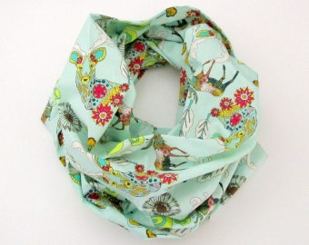 Infinity Scarf - Aqua Green Teal Pink Yellow Deer Antlers Trees - Cotton Fashion Tube Scarf