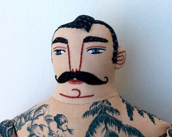 Tattooed Man with mustache Doll toile plush