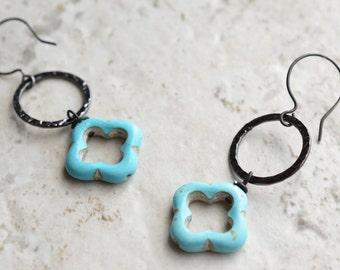 The Izmit- Blue Howlite and Gunmetal Hoop Earrings