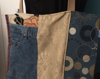 Denim and Gold Upcycled Tote