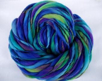 Handspun merino yarn, thick and thin yarn, FAIRYLAND, super bulky yarn, dolls hair, dreads, giant knitting, blue yarn, purple, 60yds, 3.5oz