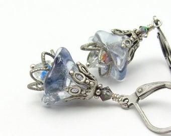 Blue Flower Earrings, Vintage Glass, Swarovski Crystal Earrings, Dangle Antiqued Silvertone Hawaiian Jewelry Hawaii Beads