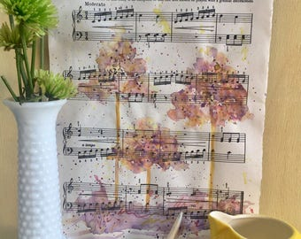Watercolor painting on vintage upcycled sheet music tree painting home decor nature art shabby chic farmhouse style