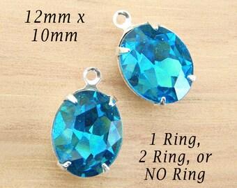 Aqua Blue Framed Glass Beads, 12mm x 10mm, Oval, Silver or Brass Settings, Glass Gems, Cabochon, Rhinestones, Glass Jewels, One Pair