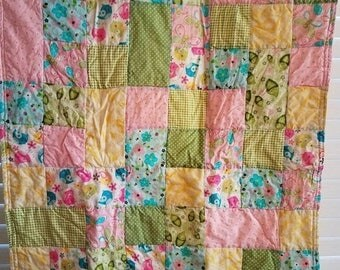 Moving Sale Sweet B Baby Quilt - yellow, lime green, pink, blue, teal 314