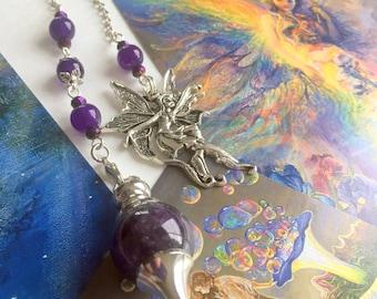 Mystic Faerie - Amethyst Pendulum with Faerie Pendant