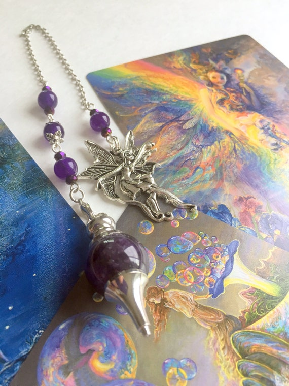 Mystic Faerie Tarot The World: Mystic Faerie Amethyst Pendulum With Faerie Pendant