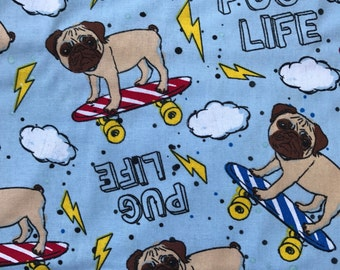 Weighted Blanket - Adult or Child - Pug Life - Choose your weight (up to 15 lbs) and minky color - custom