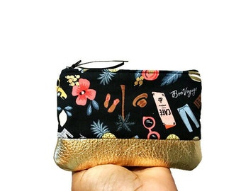 Bon Voyage Black Leather Pouch, Small Coin Purse, Zipper Pouch, Change Wallet, Change Purse, Zip Pouch, Coin Pouch, Gift for Her