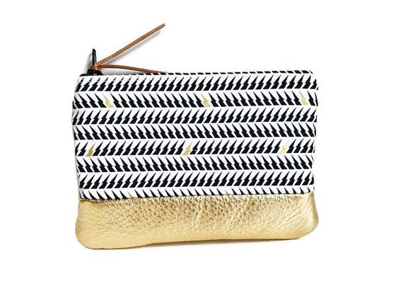 Lightning Gold Metallic Leather Coin Purse, Change Purse, Small Wallet, Zip Wallet for Women