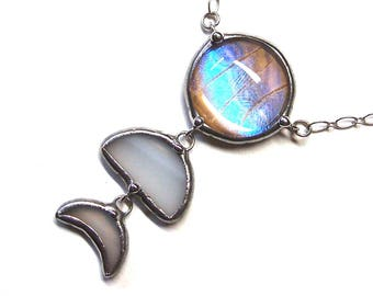 Real Pearl Blue Morpho Butterfly Moon Phases Necklace - Moonchild Jewelry with Dangling Crescent Moon