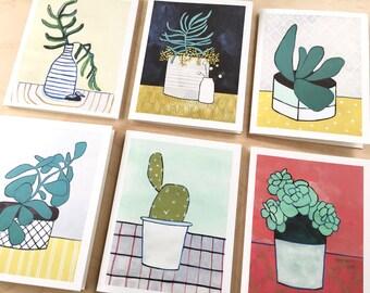 NEW // Boxed House Plant Card Set // Plant Art // Blank Card // Art Card // NW Artist // Gardener Gift // Everyday Card // Rachel Austin
