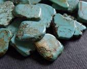 X-Large Dyed Turquoise Magnesite Pendant 35-45mm - 20 Beads - Large Magnesite Slab, Teal Magnesite Nugget Bead, Turquoise Flat Slice Bead