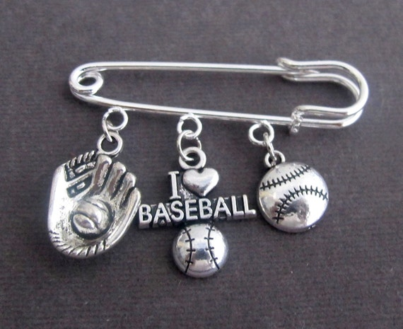 I Love Base Ball Kilt Pin,Base Ball Lovers Brooch with Baseball & Mitten Charm,Sports Safety Pin,Base Ball Team Jewlery,Free Shipping In USA